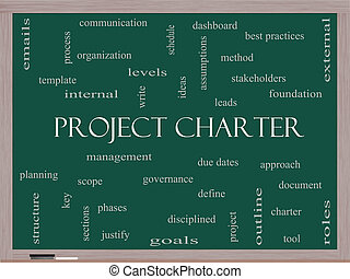 Project Charter Word Cloud Concept on a Blackboard with...
