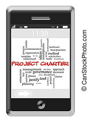 Project Charter Word Cloud Concept on a Touchscreen Phone