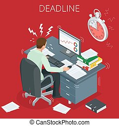 Project deadline. Concept of overworked man. Man has burned out on his workplace because of many tasks and deadlines. Flat 3d vector isometric illustration.