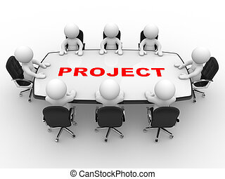 Project - 3d people - men, person at a conference table....
