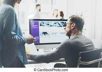 project., effect., fénykép, startup, gondolat, elken háttér, desktop, film, dolgozó, fiatal, legénység, bemutatás, erdő, új, elemez, ügy, marketing, meeting., plans., coworking, asztal.