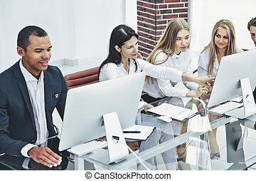 project., grupo, empresa / negocio, comercial, nuevo, discutir