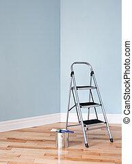 project., habitación, escalera, lata de la pintura, ...