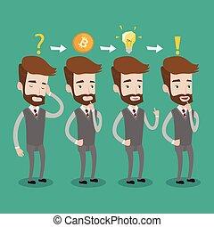 project., idea affari, cryptocurrency, prendere, uomo