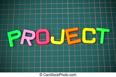 Project in colorful toy letters oncutting mate
