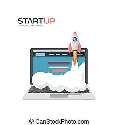 project., lançamento, sucedido, startup, ilustração, ...