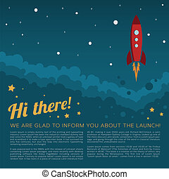 Project Launch Rocket in Space Vector Background or a Card