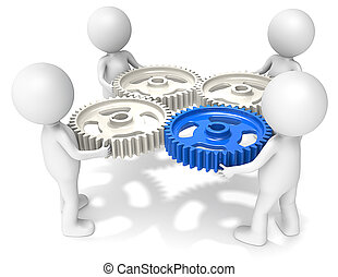 3D little human character X4 holding Cog Wheels. One Blue. People series.