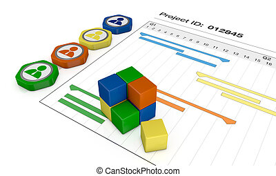 project management - closeup view of a gantt chart with ...