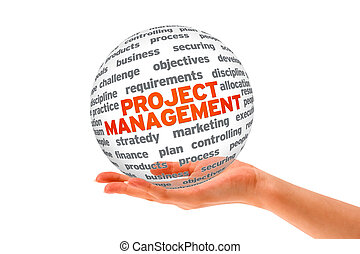 Project Management - Hand holding a Project Management 3d...