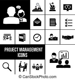 Project management icons black set