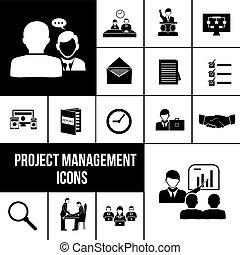 Project management icons black set