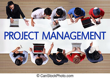 Project Management in Business Concept. Top View Businessmen Meeting