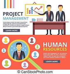 Project management, digital marketing, human resources flat illustration set. Modern flat design concepts for web banners, web sites, printed materials, infographics. Creative vector illustration