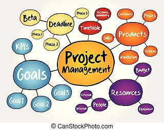 Project management mind map flowchart