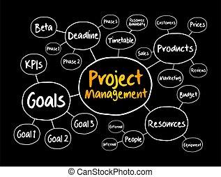 Project management mind map flowchart