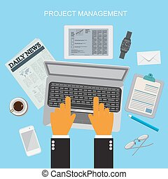 Project management - project management, flat vector...