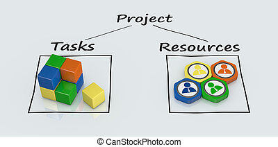 project plan diagram with icons (3d render)