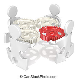 Project management. - Puzzle People holding Cogwheels. One ...