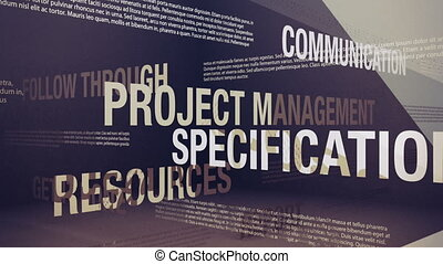 Seamlessly looping animation showing a variety of project management related terms and concepts.