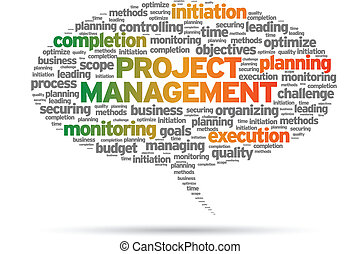 Project Management speech bubble illustration on white...