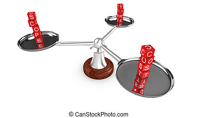 Project management triangle of cost, scope and time staged as dice on a three arm scale 3D illustration