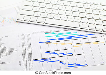 Project management with gantt chart and keypad