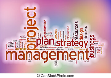 Project management word cloud with abstract background