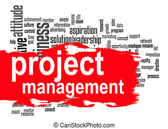 Project management word cloud with red banner