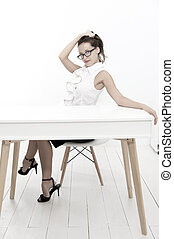 project manager. business school teacher or student. Charming lady smiling at table. Business success. sexy woman with red lips in glasses. back to school concept. Business coach. Welcome on board