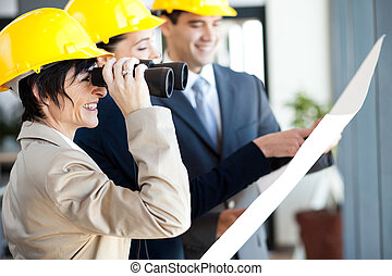 project manager looking at construction site