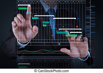 businessman hand working with touch screen - Project manager...