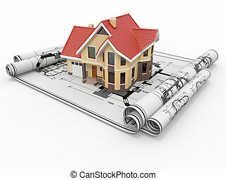 project., mieszkaniowy, mieszkaniowy, architekt, dom, blueprints.