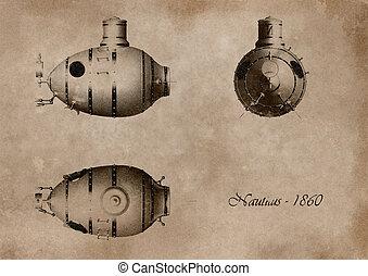 submarine - project on ancient submarine card