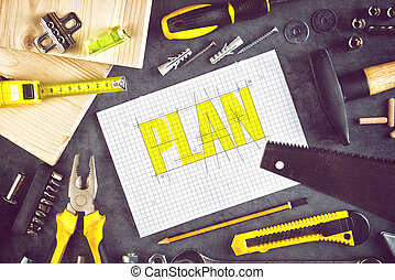 Project Plan For Home Redecoration Work with Paper, Pencil...