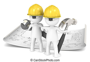 Project Planning. - 3D little human character The Builder X2...