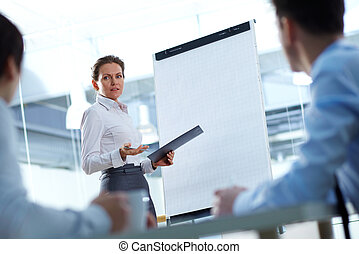 Project presentation - Business woman presenting a new...