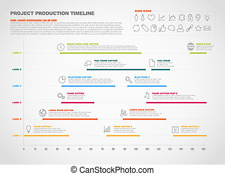 project production timeline graph - Vector project timeline ...
