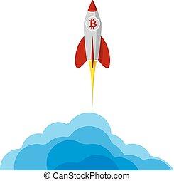 project., rakieta, startup., przelotny, bitcoin, space., procurement, presentation., logo, początkowy, albo, ważny