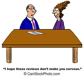 Project Review - Business cartoon about a project review.