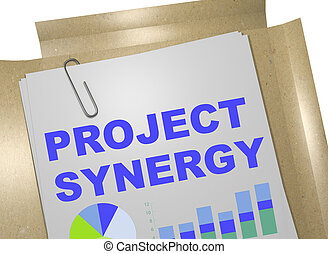 Project Synergy - business concept - 3D illustration of...