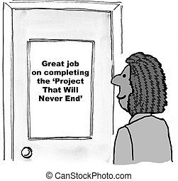 Project That Will Never End - Cartoon of african-american...