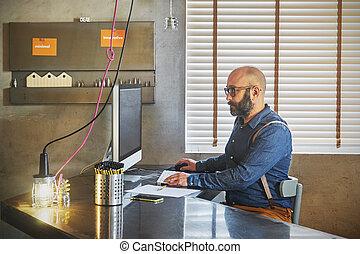 project., werkende , draagbare computer, architecturaal, zakenman, nieuw