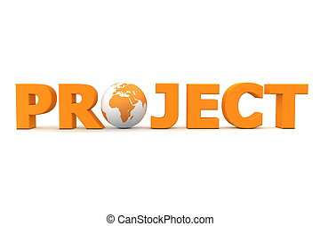 orange word Project with 3D globe replacing letter O