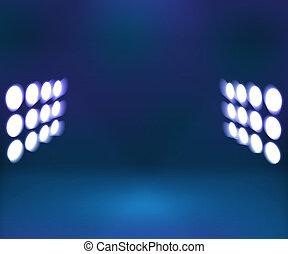 projecteur, bleu, intérieur, fond