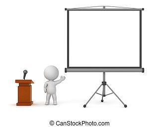 projecteur, caractère, lutrin, écran, 3d