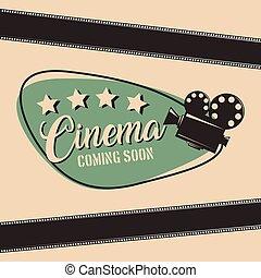 projecteur, cinéma, film, venir, bientôt, affiche, bande, pellicule