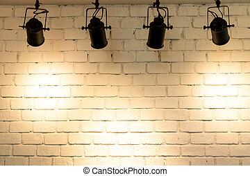 projecteur, copie, illuminer, pendre, fond, mur, brique, espace