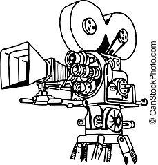 projecteur, film, illustration, main, vecteur, griffonnage, dessiné