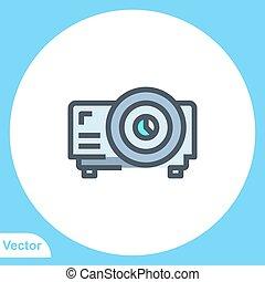 projecteur, signe, symbole, vecteur, icône